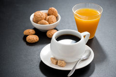Cup Of Coffee, Italian Cookies And Orange Juice Royalty Free Stock Photos