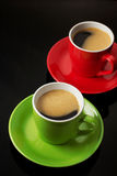 Cup Of Coffee On Black Stock Image