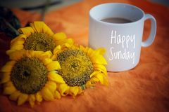 Free Cup Of Coffee Or Tea And Flowers Arrangement On Orange Background. With Text Greeting On White Mug - Happy Sunday. Stock Photos - 162034923