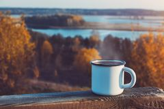 Free Cup Of Coffee Or Tea On Autumn Landscape Outdoors Royalty Free Stock Photography - 163568027