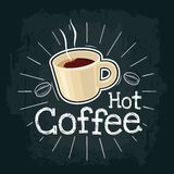 Cup Of Coffee. Vector Flat Illustration With Engraving Rays, Lettering, Bubble Royalty Free Stock Photos