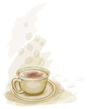 Cup Of Coffee. Watercolor Style. Stock Photo