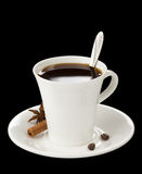 Cup Of Coffee With Beans Isolated On Black Stock Photos