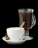 Cup Of Coffee With Beans Isolated On Black Royalty Free Stock Images