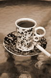 Cup Of Coffee With Cigarette Stock Image