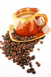 Cup Of Coffee With Coffee Bean Royalty Free Stock Photography
