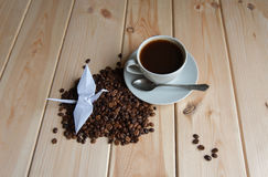 Free Cup Of Coffee With Crane Royalty Free Stock Images - 53621759