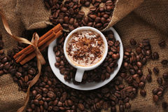 Cup Of Coffee With Cream And Cinnamon Stock Images
