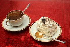 Free Cup Of Coffee With The Spoon And A Slice Of Pie On Red Backgroun Stock Photos - 1903143