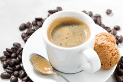 Cup Of Espresso, Cookies And Coffee Beans Stock Photography