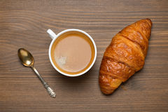 Cup Of Espresso, Croissant, Concept Photo, Top View Royalty Free Stock Photos