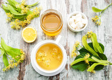 Cup Of Herbal Tea With Linden Flowers Stock Photo