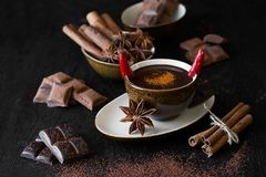 Cup Of Hot Chocolate With Chili Pepper Stock Photo