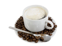 Cup Of Hot Coffee E With Cream. Isolated. Stock Photos