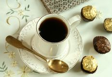 Cup Of Tea And Chocolate Candies On Beautiful Tabl Stock Image