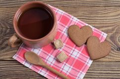 Cup Of Tea And Heart Shaped Ginger Cookies Royalty Free Stock Image