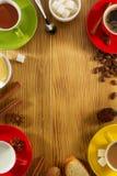Cup Of Tea, Milk, Coffee On Wood Stock Photos