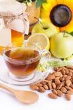 Cup Of Tea With Linden Honey, Apples, Almonds