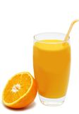 Cup of orange juice with orange Stock Photos