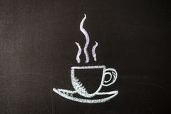 Cup painted with chalk on blackboard Royalty Free Stock Images