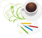 Cup and paper with pencils. Decorative composition royalty free stock photos