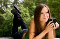Attractive Woman Has Coffee in Cup Public Park Stock Image