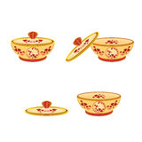 Cup part of porcelain whit red flowers. Vector illustration without gradients Stock Photos