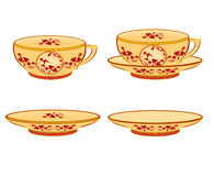 Cup part of porcelain whit red flowers. Vector illustration without gradients Royalty Free Stock Photos