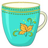 Cup with a pattern. China green cup with a pattern from circles and yellow autumn leaf Stock Image