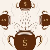 Cup pattern dollar cream background vector illustration vector illustration