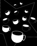 Cup pattern. Illustration of a cups on black background Stock Photography