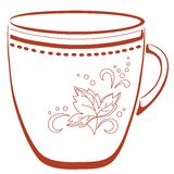 Cup with a pattern, pictogram. China cup with a pattern from circles and leaf, pictogram Royalty Free Stock Image