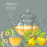 Pear tea vector illustration. Cup of pear tea and teapot on color background Royalty Free Stock Photo