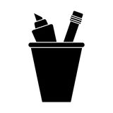 Cup pencil school utensil pictogram Royalty Free Stock Images