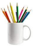 Cup with pencils. Isolated on a white background (With Path royalty free stock photography