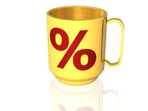 Cup with percentage signs - 3D Stock Images