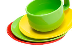Cup and plates Stock Images