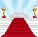 Cup on podium. With red carpet Royalty Free Stock Images