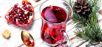 Cup of pomegranate tea stock photo