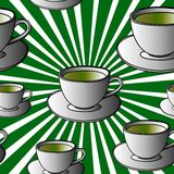 Cup pop art stripes seamless pattern. Cups of tea pop art on green stripes background Vector Royalty Free Stock Photo