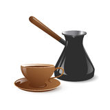 Cup and pot for coffee Stock Image