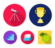 Cup, prize, telescope, catalog in a box and pedestal of honor. School set collection icons in flat style vector symbol. Stock illustration Royalty Free Stock Image