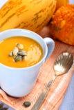 Cup of pumpkin soup with pumpkins seeds Stock Photos