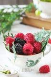 Cup of raspberries and blackberries Royalty Free Stock Image