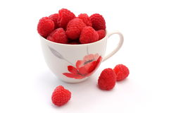 Cup of raspberries Stock Image