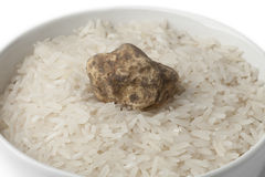 Cup of raw rice with white truffle Royalty Free Stock Image