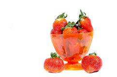 A cup of red fresh sweet strawberry`s stock images
