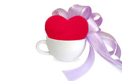 Cup with red heart. Cup of coffee with red heart isolated on white Stock Images