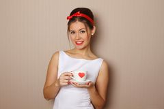 Cup of red heart Royalty Free Stock Images