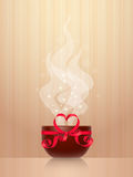 Cup with red heart-shaped bow Royalty Free Stock Photo